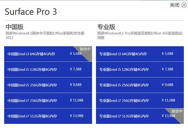 Surface Pro 3售价